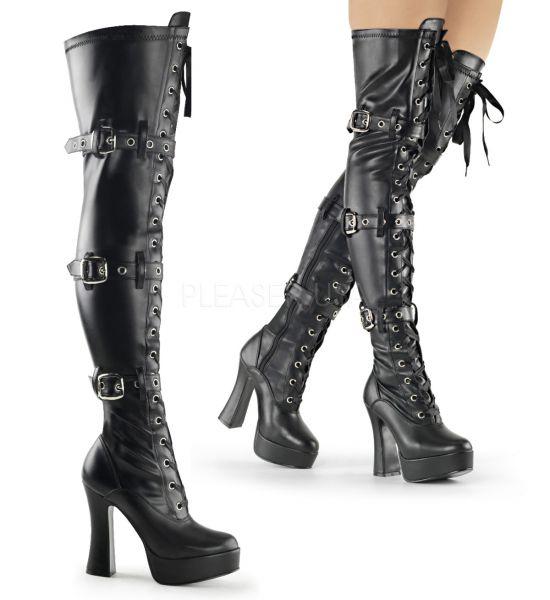 Overknee Plateau Stiefel ELECTRA-3028 schwarz Stretchkunstleder mit Schnürung und Schnallen